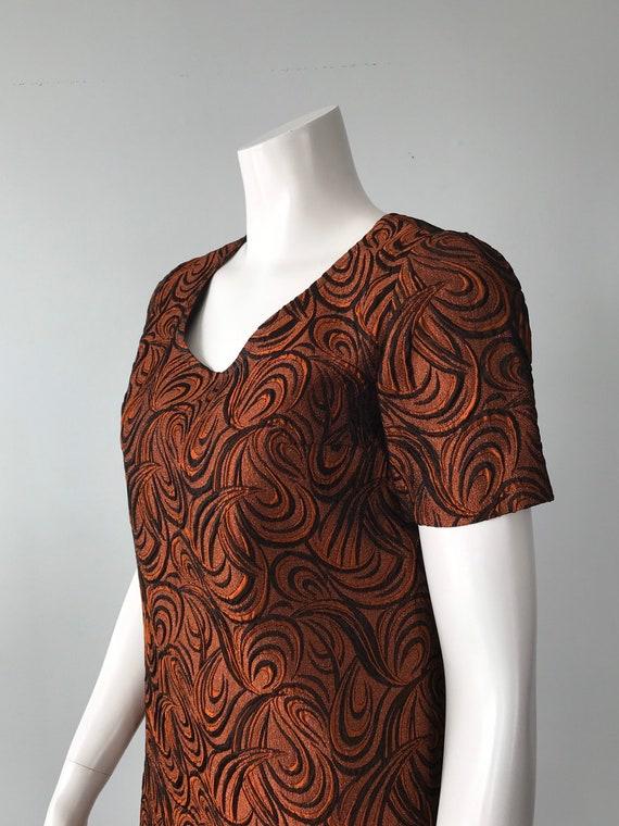 Vintage Dress Golden Crown Sportswear 1960s Dress Orange and Brown Dress Vintage Mod Mini Dress 1960s Mini Dress