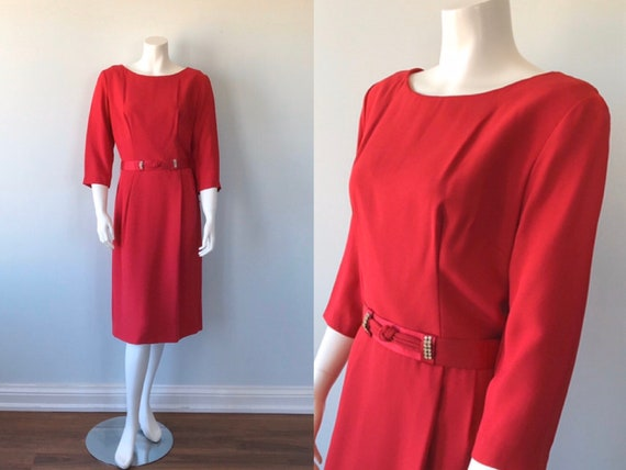 Vintage Red Dress, 1960s Red Cocktail Dress, Red D