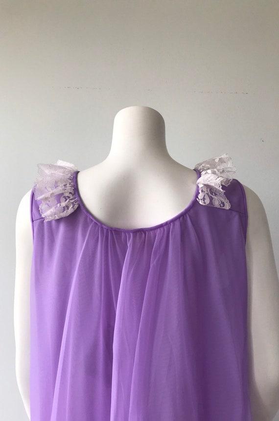 Vintage Chiffon Nightgown, Dorsay, Purple Chiffon… - image 8
