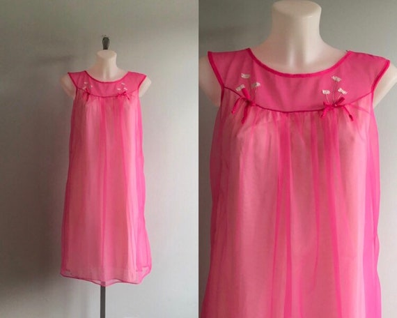 Vintage Pink Chiffon Nightgown, Short Nightgown, … - image 1