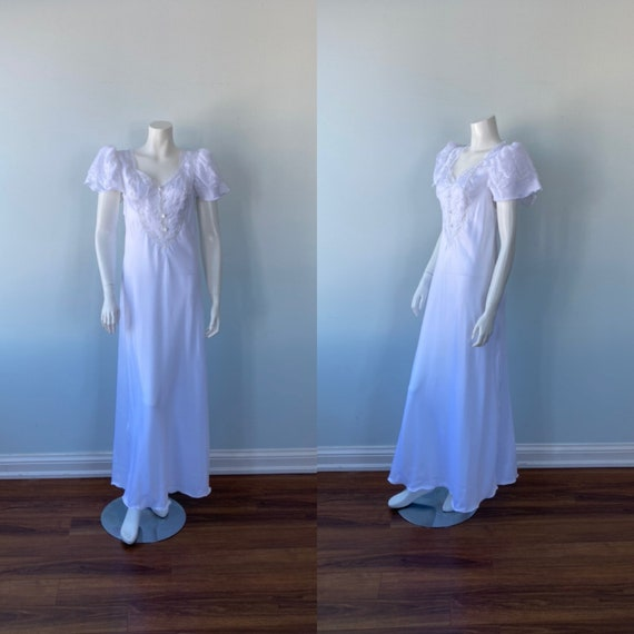 Vintage White Nightgown, 1990s Nightgown, Gaby, Wh
