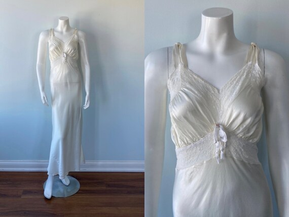 Vintage Nightgown, Ivory Nightgown, 1940s Nightgow