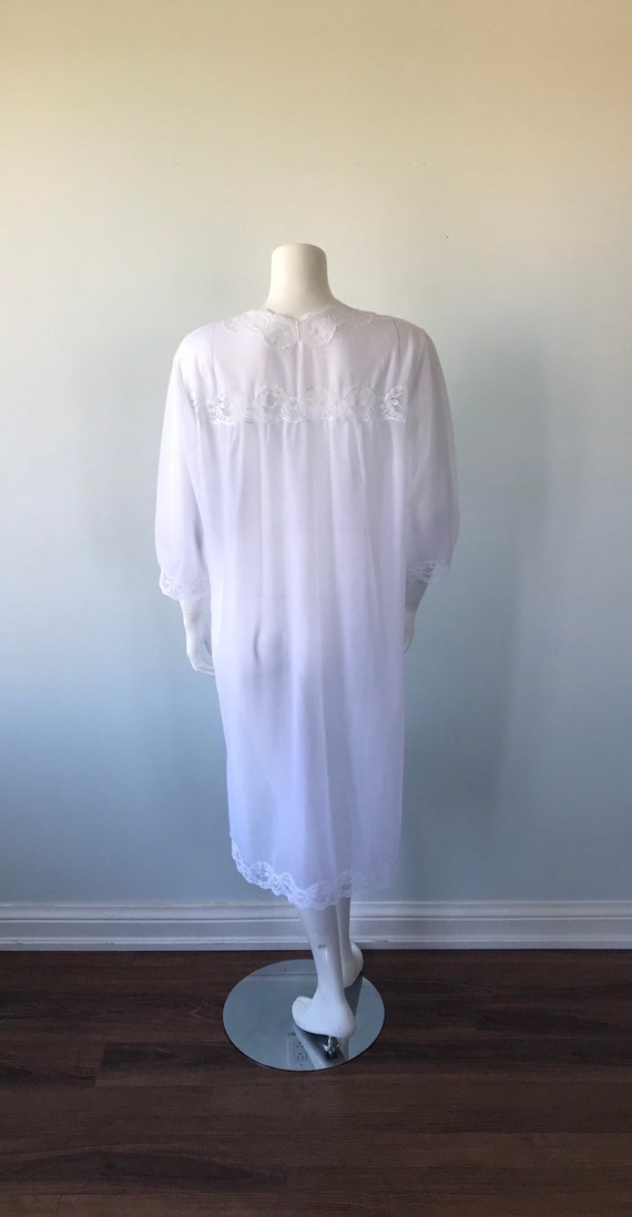 Vintage White Double Chiffon Nightgown, 1970s Nig… - image 8