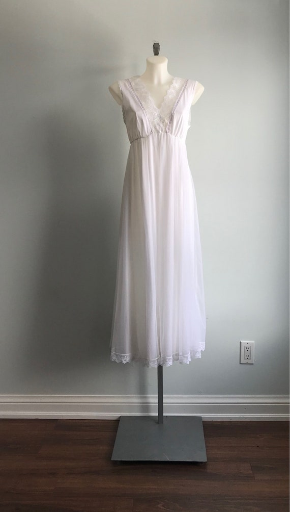 White Chiffon Nightgown, 1960s Nightgown, Tosca, … - image 3