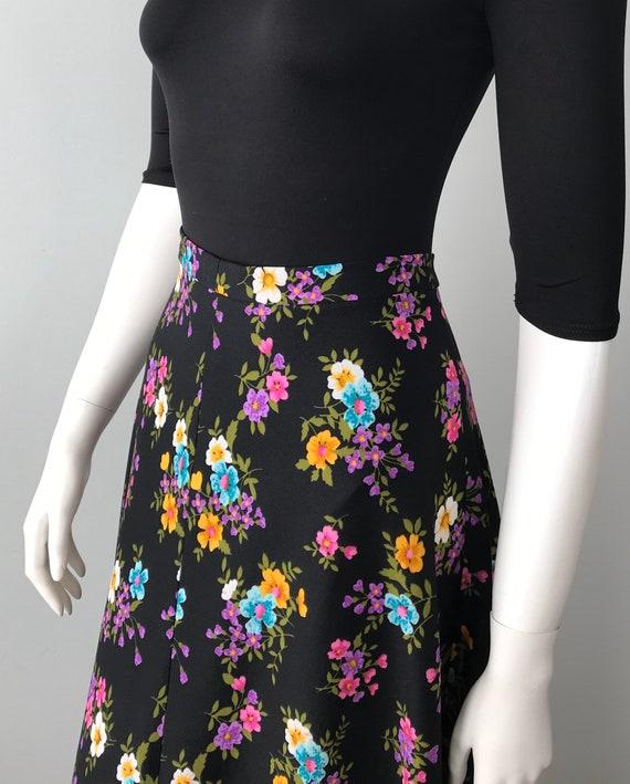 1970s Black Floral Maxi Skirt,  Vintage Maxi Skir… - image 5