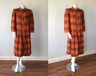 Vintage Cottage Chic Dress, Seven Sport, 1970s Dress, Country Chic, Plaid Dress, Cotton Dress, Vintage Dress