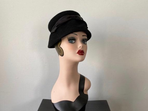 Vintage Hat, Vintage Black Hat, 1920s Hat, Helen J