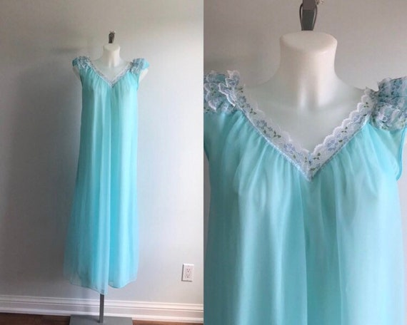 Vintage Nightgown, Vintage Aqua Nightgown, Aqua Ch