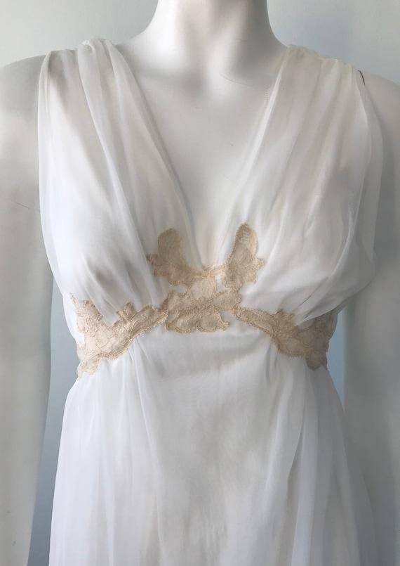 Vintage Ivory Chiffon Nightgown, 1960s Chiffon Ni… - image 4