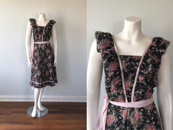 Vintage Apron Wrap Dress, Algo, 1970s Dress, Wrap