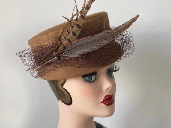 Vintage Pill Box Hat, 1940s Hat, Formal Hat, Ladie