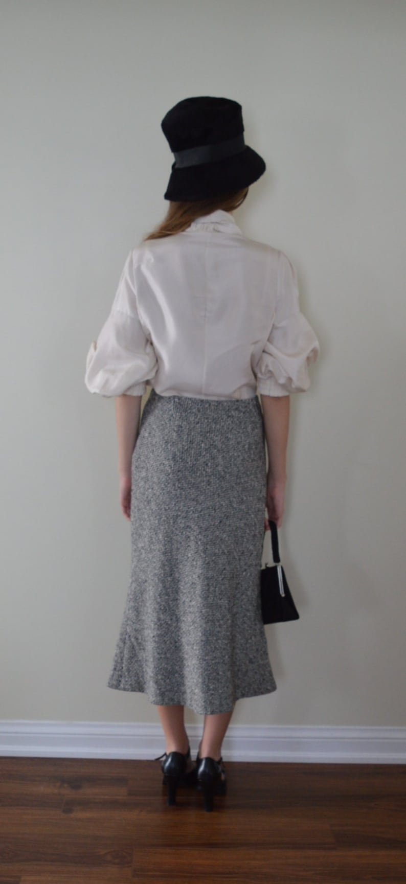 Emanuel Ungaro Vintage Emanuel Ungaro Paris Wool and Cashmere Flared Skirt Vintage Skirt Houndstooth Skirt 1980s Skirt