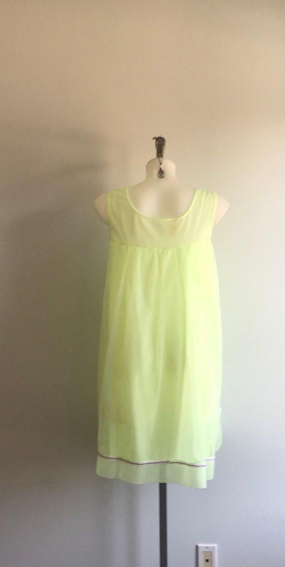 Vintage 1960s Yellow Chiffon Nightgown, Dorsay, 1… - image 6