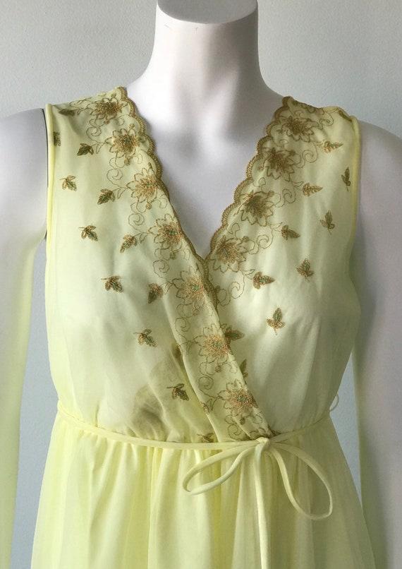 Vintage Yellow Chiffon Nightgown, Slumber Suzy, 1… - image 4