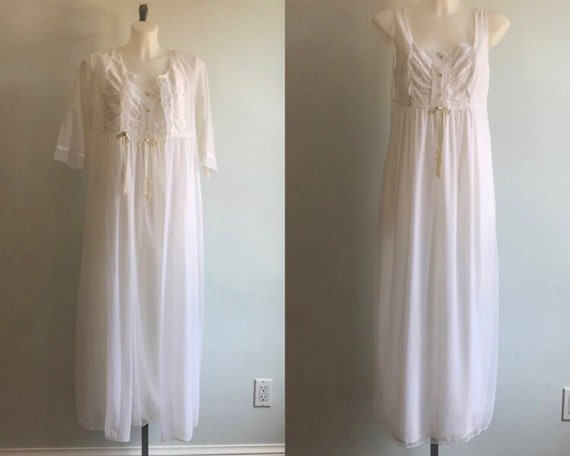 Vintage White Chiffon Peignoir Set, Peignoir Set,