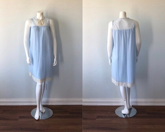 Vintage Blue Nightgown, 1960s Nightgown, Vintage N