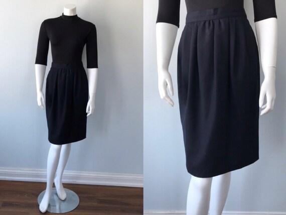 Vintage Karl Lagerfeld Black Wool Skirt, Vintage B