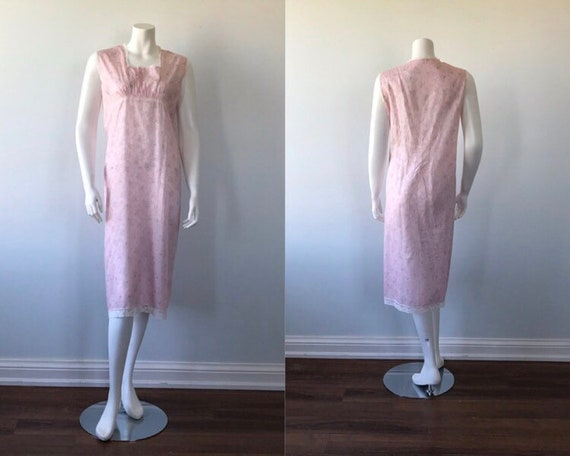 1970s Pink Fine Cotton Nightgown, Vintage Nightgow