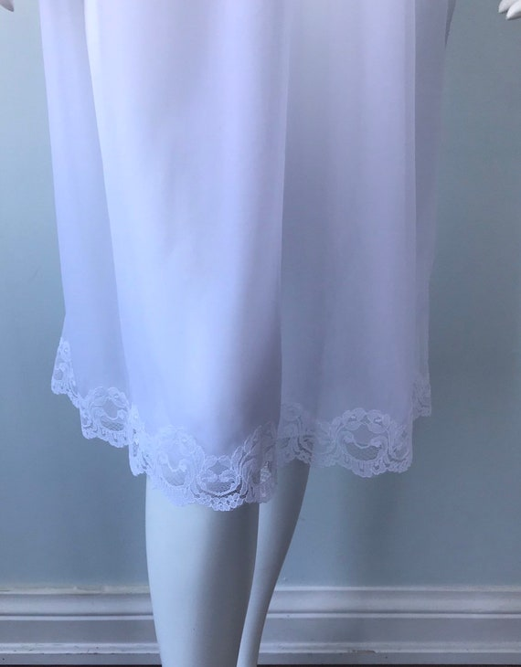 Vintage White Double Chiffon Nightgown, 1970s Nig… - image 6