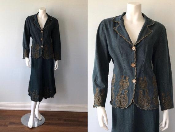 Vintage Blue Denim Skirt Suit, April Cornell, 1980
