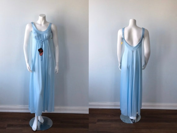 Vintage Nightgown, Lov Lee, 1970s Nightgown, Blue