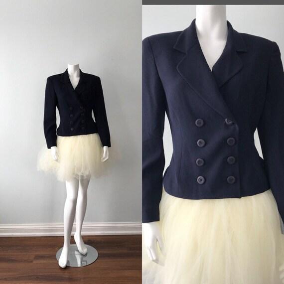 Vintage Christian Dior Navy Blue Jacket, 1990s Jac