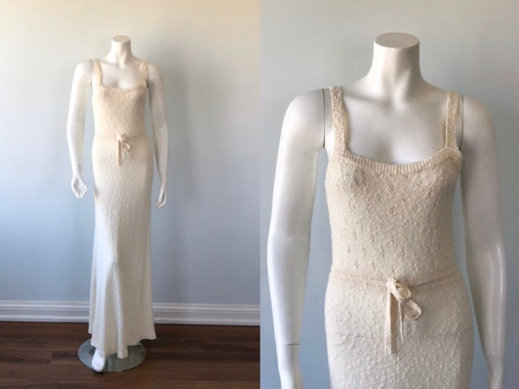 1960s Ivory Knit Dress, International Boutique, Vi