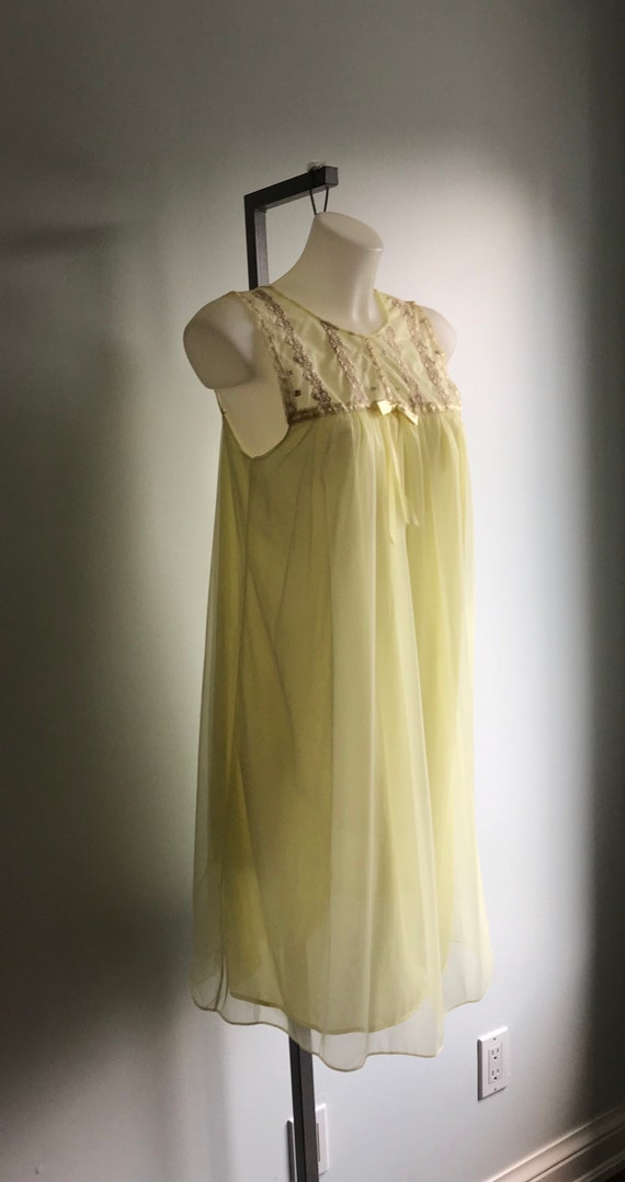 Vintage Yellow Chiffon Nightgown, 1960s Nightgown… - image 5