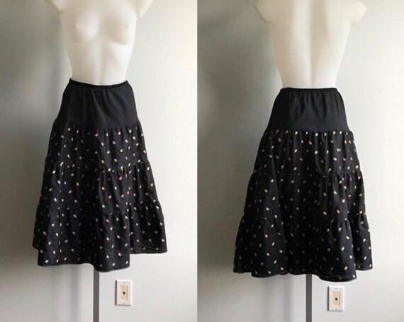 Vintage Black Floral Crinoline, Black Crinoline, V