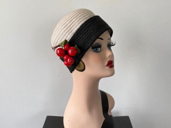 Vintage Fine Rattan Woven Turban Style Hat, Black