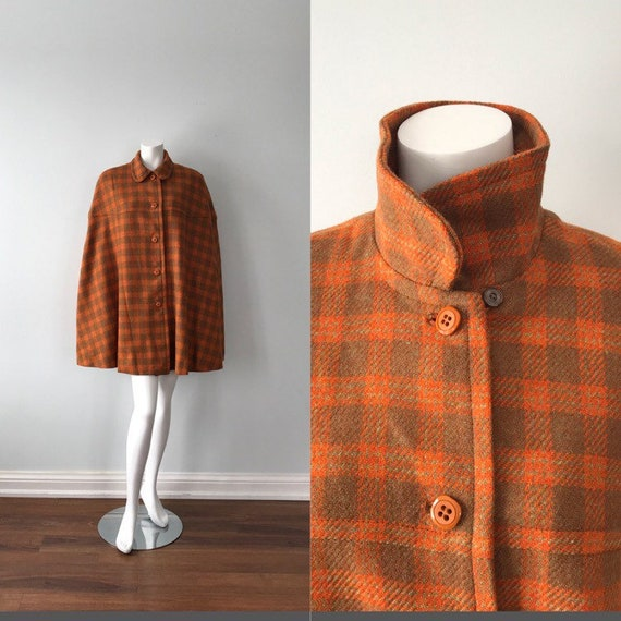 Vintage Cape, Vintage Plaid Cape, 1960s Cape, Ladi