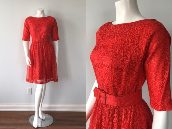 Vintage Red Lace Dress, 1950s Dress, Red Lace Dres