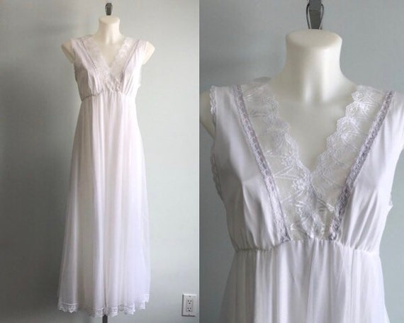 White Chiffon Nightgown, 1960s Nightgown, Tosca, R