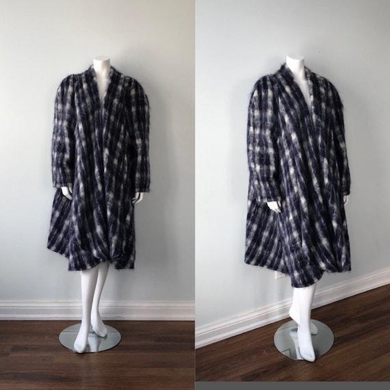 Vintage Blue Plaid Mohair Swing Coat, Vintage Swin
