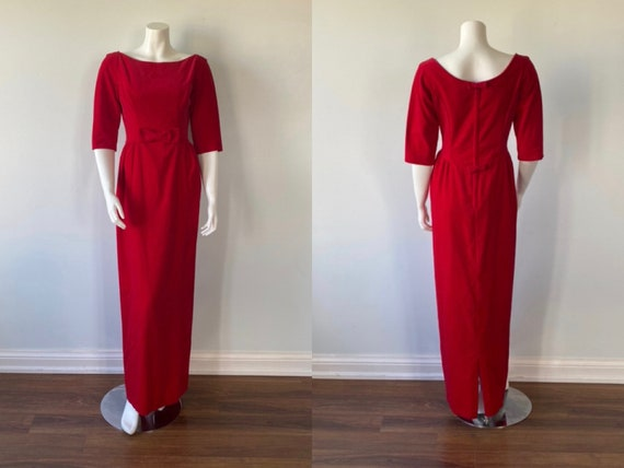 1950s Red Velvet Evening Gown, Lorrie Deb SAN Fran