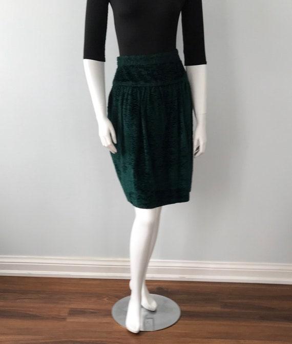 Vintage Green Velvet Skirt, 1970s Skirt, Kenzo Pa… - image 4