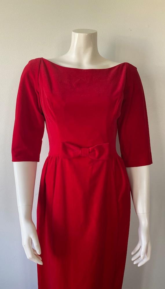 1950s Red Velvet Evening Gown, Lorrie Deb SAN Fra… - image 3