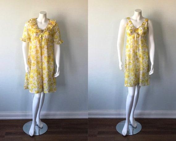 Vintage Floral Peignoir Set, Yellow Floral Peignoi