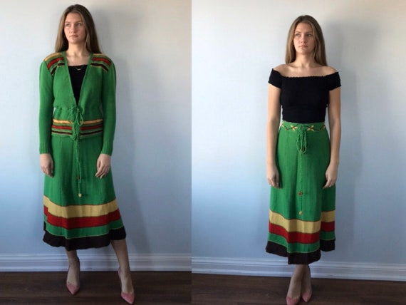 Vintage Knit Green Skirt Suit, 1970s Knit Skirt Su