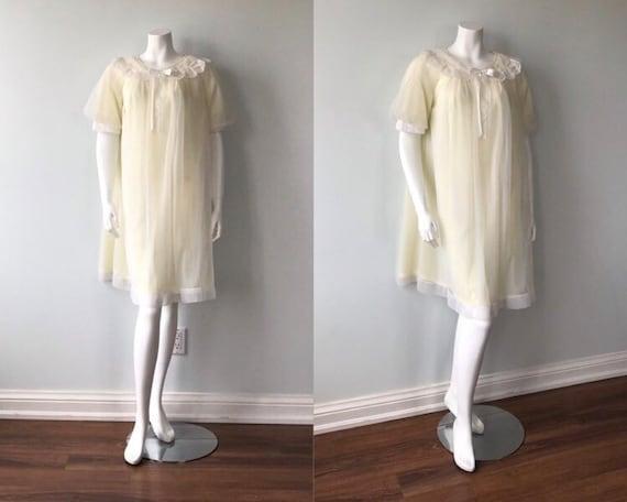 Vintage Chiffon Nightgown, St Michael, Pale Yellow