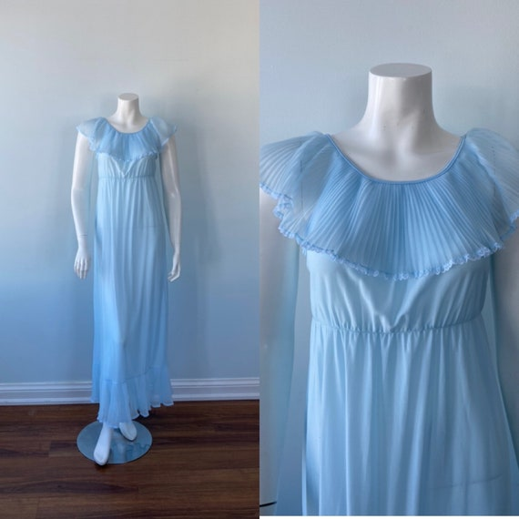 Vintage Nightgown, Vintage Blue Nightgown, 1970s N