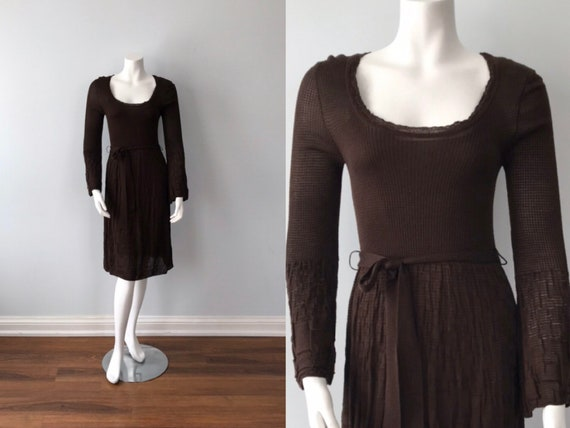 Missoni, Vintage Knit Dress, Vintage Brown Dress,
