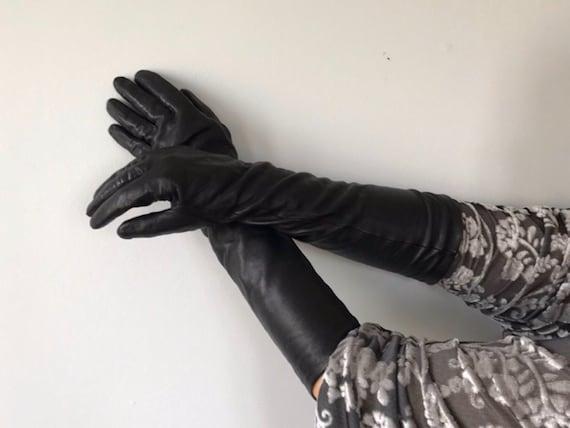 Vintage Paris Black Leather Gloves, Bkack Leather
