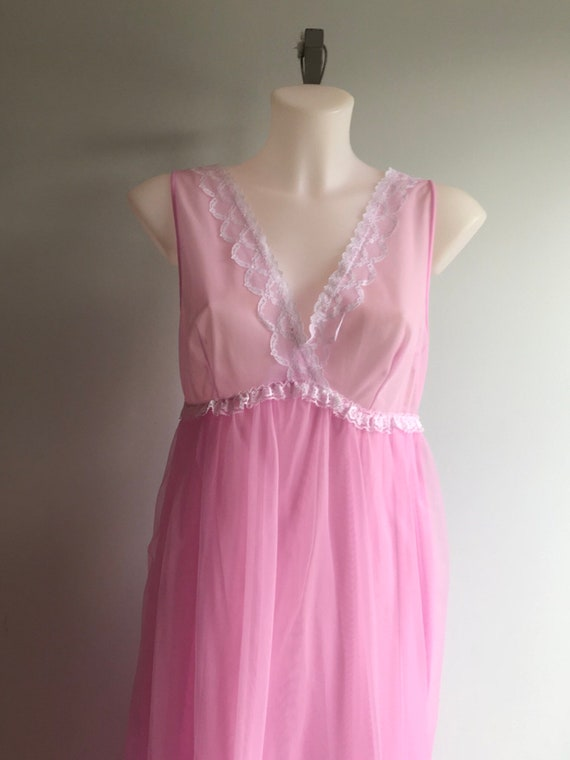 Vintage Chiffon Nightgown, 1960s Nightgown, Orchi… - image 3