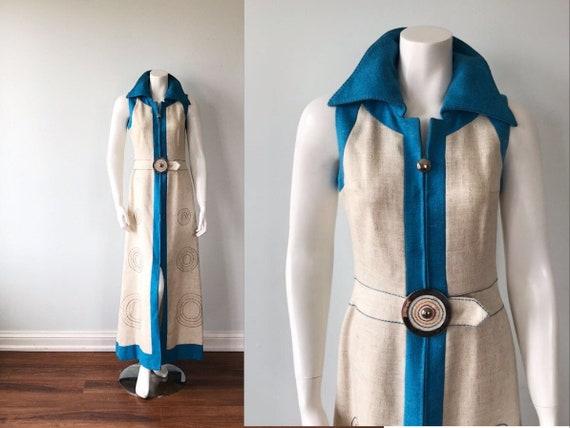 Rare Vintage Alan Cherry Maxi Dress, 1970s Maxi Dr