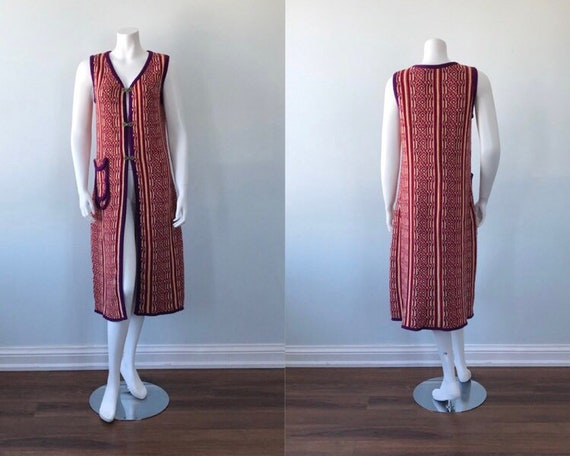 1960s Knit Long Vest, 1960s Wool Vest, Favorite Kn
