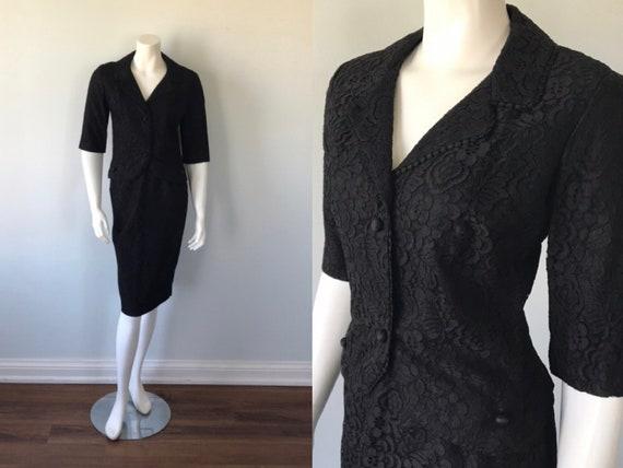 Vintage Black Lace Skirt Suit, 1950s Black Lace Sk