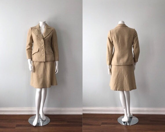 Vintage Beige Skirt Suit, 1960s Skirt Suit, Wool S