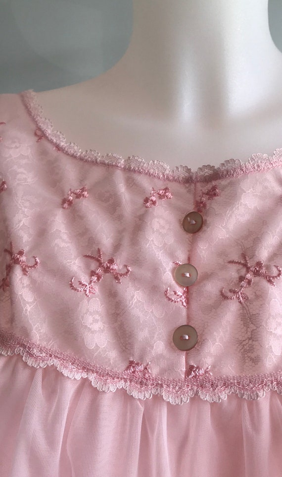 Vintage Pink Chiffon Nightgown, 1960s Chiffon Nig… - image 6