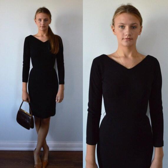 Vintage Black Dress, 1950s Black Dress, Black Cock